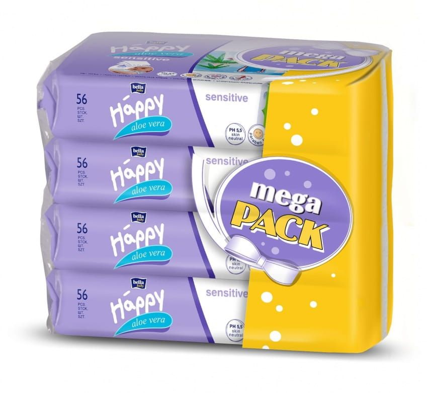 Bella Baby Happy Sensitive s Aloe vera vlhčené ubrousky 4x56 ks - mega pack