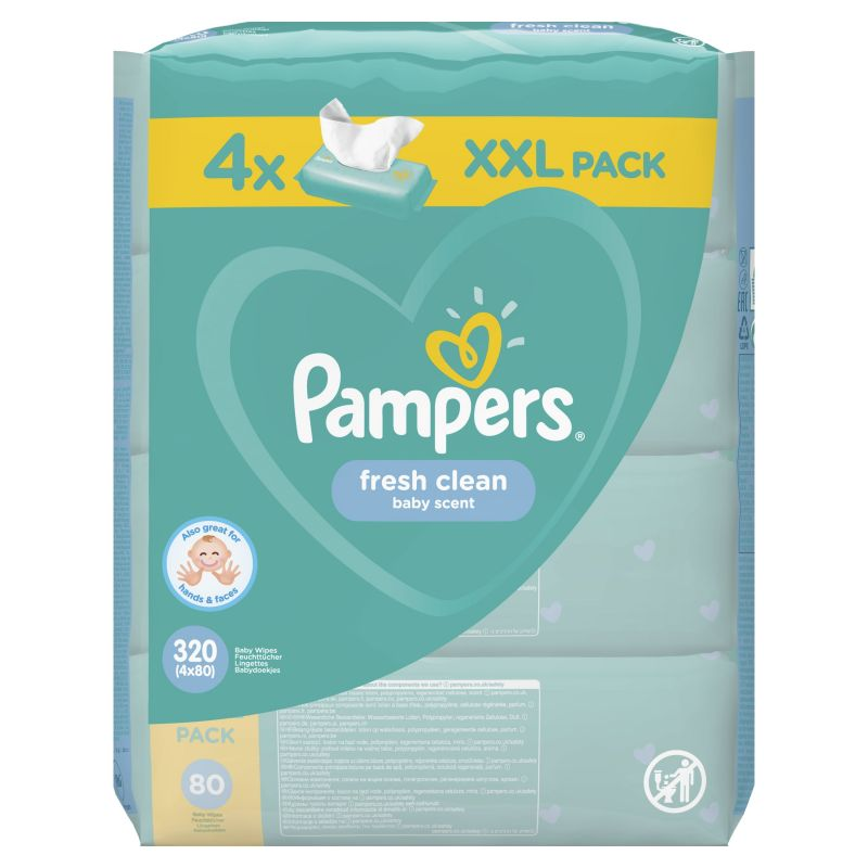 Pampers Wipes Fresh Clean XXL 4x80ks