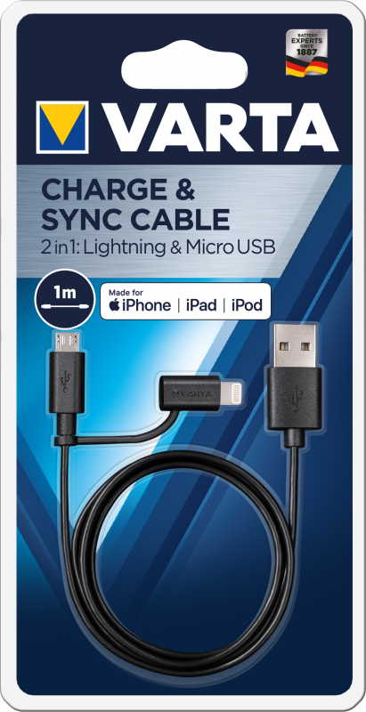 Varta 2in1 Charge & Sync Cable (Micro USB + Lightning)