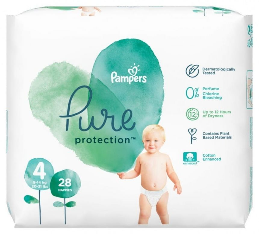 Pampers Pure Protection Velikost 4 (9-14 kg)