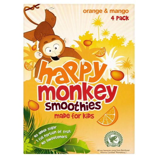Happy Monkey Smoothie Pomeranč & Mango 4x180ml