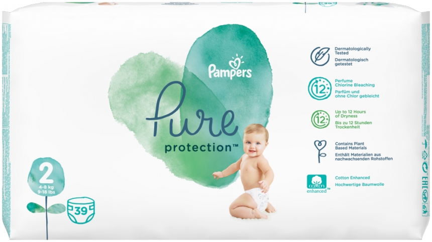 Pampers Pure Protection Velikost 2 (4-8 kg)