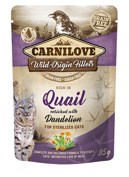 Carnilove Cat Pouch Rich in Quail Enriched with Dandelion for sterilized