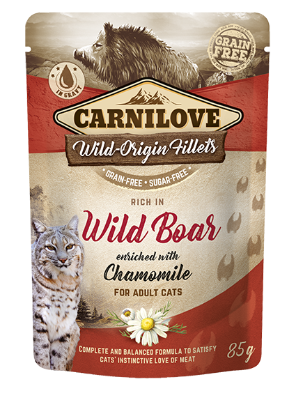 Carnilove Cat Pouch Rich in Wild Boar Enriched with Chamomile