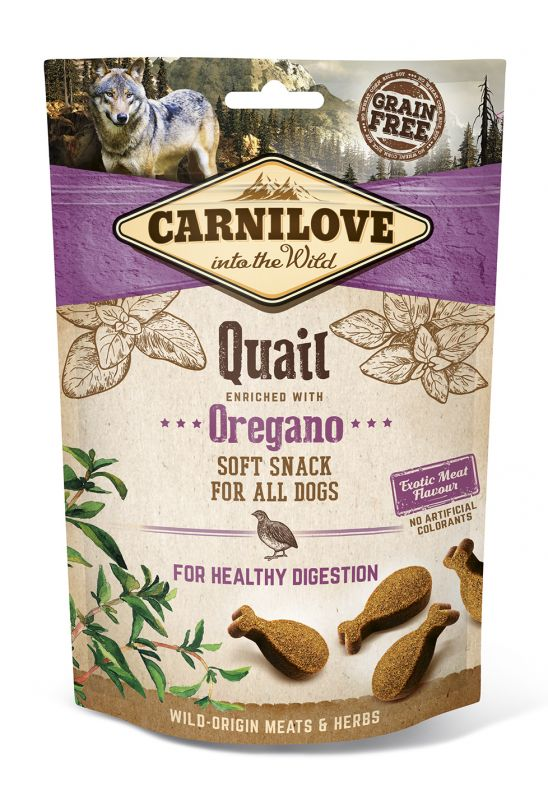 Carnilove Grain-Free Dog Semi Moist Snack Quail enriched with Oregano