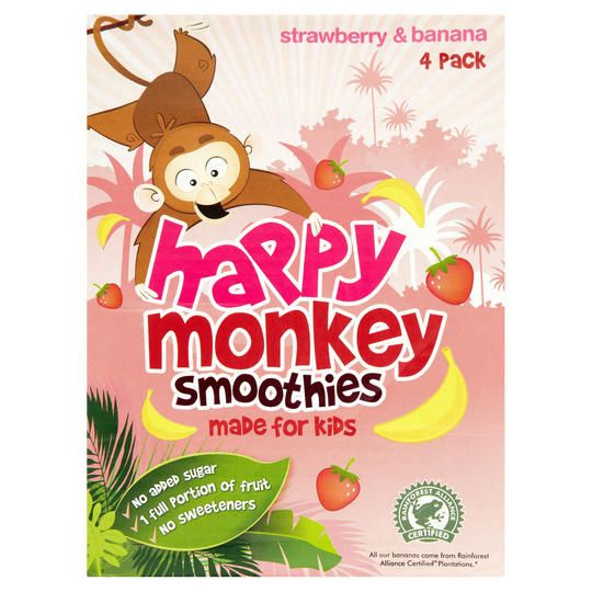 Happy Monkey Smoothie Jahoda & Banán 4x180ml