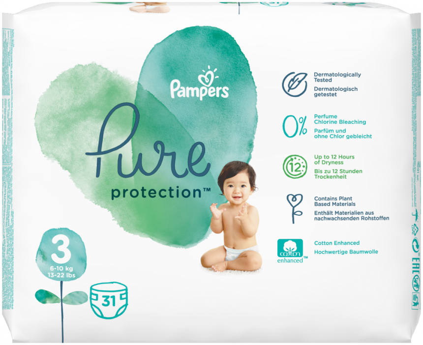 Pampers Pure Protection Velikost 3 (6-10 kg)